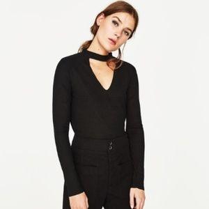 Zara Ribbed Chocker V-Neck Long Sleeve T-Shirt